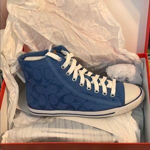 Coach Blue Hightop Sneakers Size 7b